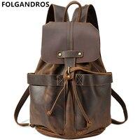 FOLGANDROS Винтаж рюкзаки топ из натуральной коровьей кожи Для мужчин Для женщин ноутбук рюкзак классический Многофункциональный строки рюкзак