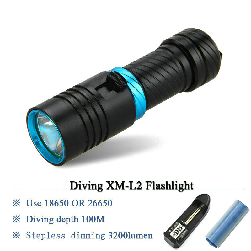 100M diving flashlight led scuba flashlights underwater light torch diver CREE XM-L2 Use 18650 OR 26650 rechargeable battery cree xm l t6 bicycle light 6000lumens bike light 7modes torch zoomable led flashlight 18650 battery charger bicycle clip