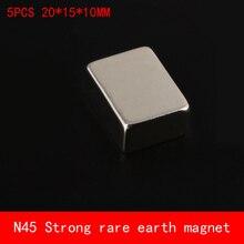 5PCS 20*15*10mm N45 strtip Strong NdFeB rare earth magnet permanent plating Nickel 20X15X10MM 10mm hexagonal shape ndfeb magnet silver 20 pcs