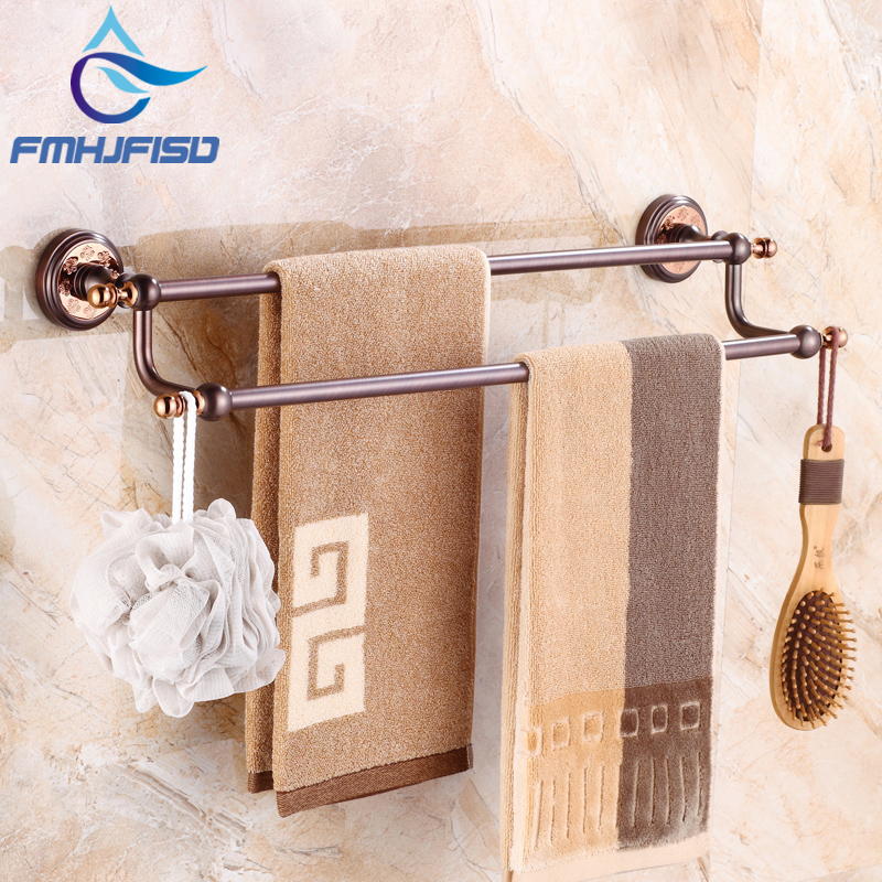 New Arrival Oil Rubbed Bronze Double Towel Bars Wall Mounted Bathroom Towel Rack Holder black oil rubbed bronze bathroom accessory wall mounted toothbrush holder with two ceramic cups wba197