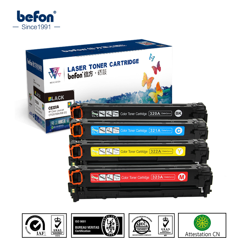 befon Toner Cartridge Compatible for HP CE320A CE321A CE322A CE323A 128A 320 321 322 323 laserjet CM1415 CM1415fn 1415 CP1525 цена