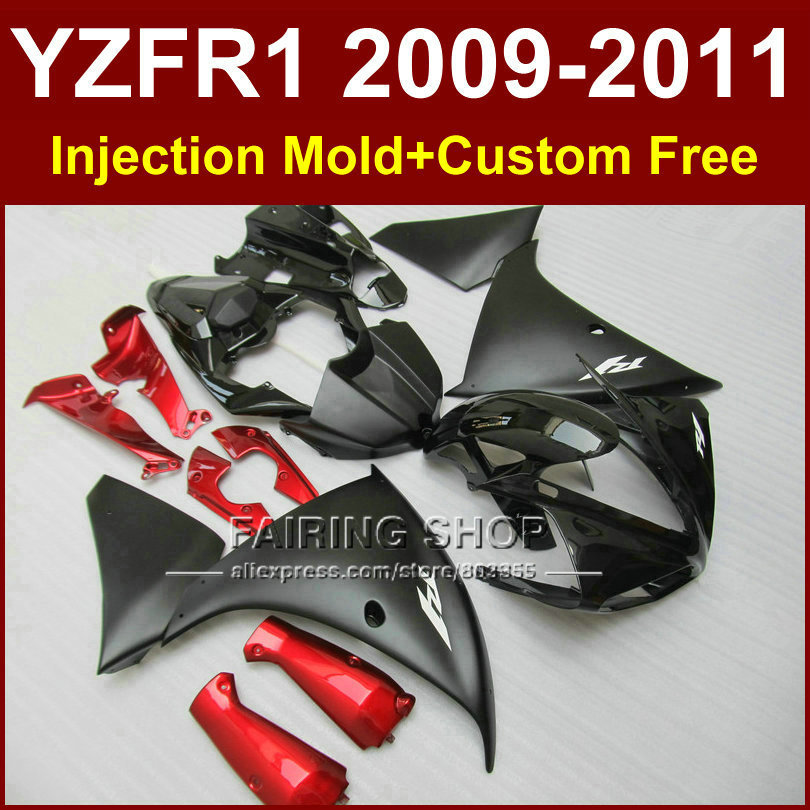 Fit for yamaha  flat black fairings yzf-r1 09 10 11 12 bodywork yzf1000 +7gifts injection yzf r1 2009