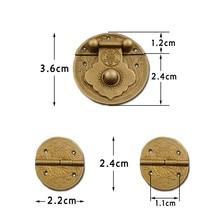 Lock-Set Brass Vintage Chinese Hasp-Latch-Lock Mini European Hinges Vase-Buckle Wooden-Box