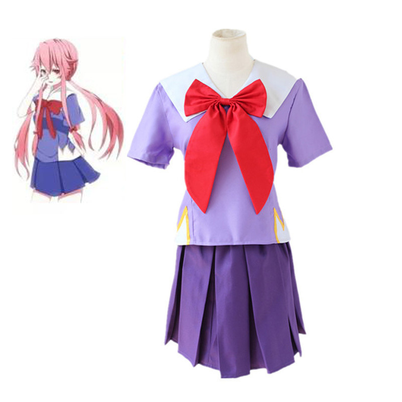 Anime Mirai Nikki Gasai Yuno Cosplay Costume The Future Diary Long Hair Women Girls Halloween Party Wigs School Uniform Dress