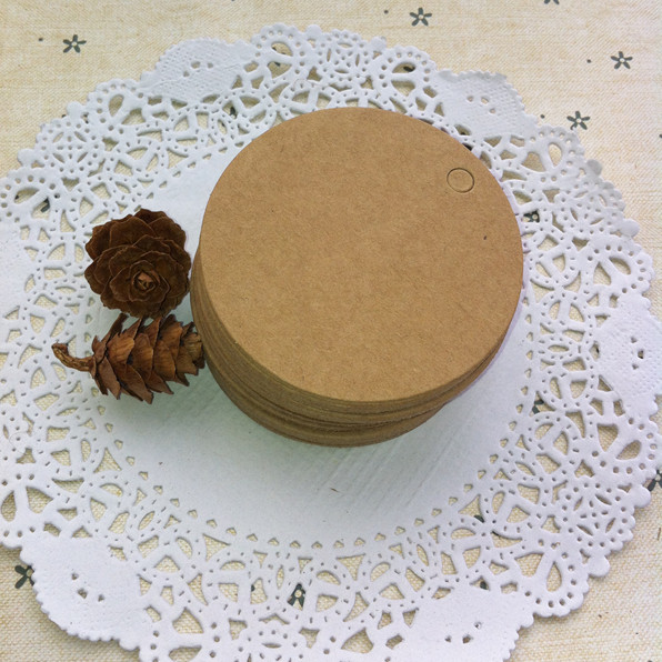 100pcs Round Brown Black White Marked Blank Card Wedding Decoration Kraft Gift Tags Cake Food Label Bottle Tag 4*4cm