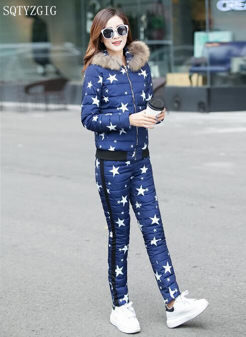 High Quality Winter Women Suits Set 2016 Women Casual Tracksuits Three Piece Women Sets Thicker Down