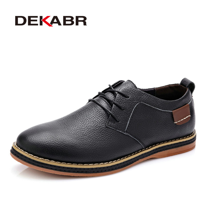 DEKABR High Quality Men Flats Casual New Genuine Leather Flat Shoes Men Oxford Fashion Lace Up Dress Shoes Work Shoe Sapatos