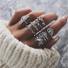 TTLIFE 9Pcs/Set Boho Carving Flowers Leaves Bee Eye Crystal Cross Gem Joint Ring Fashion Lady Party Silver Ring Set Combinations