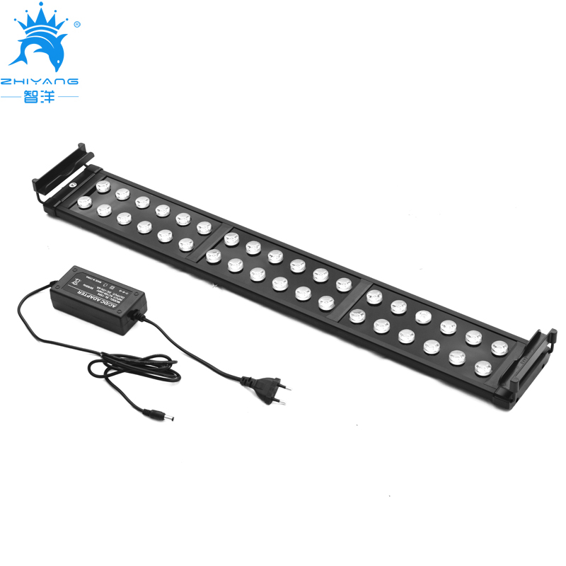 75~95cm 30W Aquarium LED Lighting Fish Tank Light Lamp with Extendable Brackets 24 White 12 Blue LED light for Aquarium plant