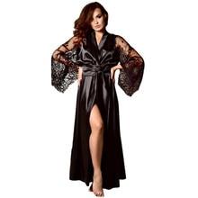 d3ff8e0b3e Plus Size Womens Sexy Long Kimono Nightdress Lace Bath Robe Lingerie Gown Ice  Silk Nightdress Solid