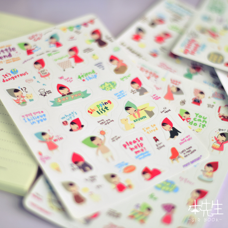 AB28 6 sheets /Pack Adorable Hat Girl Stickers Notebook Album DIY Decor Student Stationery Stickers Kids Rewarding Gift