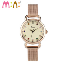 M:N: Luxury Brand Women Watches Waterproof Leather Stainless Steel Bracelet Ladies Quartz Wrist Watch Clock Woman Reloj Mujer