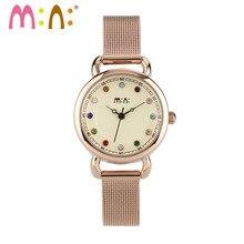 M: N: יוקרה מותג נשים שעונים עמיד למים עור נירוסטה צמיד גבירותיי קוורץ שעון יד שעון אישה Reloj Mujer