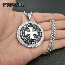 Mens 316L Stainless Steel Maltese cross Necklace Vintage Knights Templar Pendant Round Templar Black maltese Symbol Pendants(China)