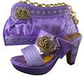 Italian Ladies Matching Shoes And Bags Set In Purple Color Heel Pumps Shoes High Quality African Shoe With Bag Set To Match GF24