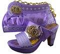 Señoras italianas Zapatos Y Bolsas Conjunto A Juego De Color Púrpura Talón Zapatos de las bombas de Alta Calidad Africano Zapato Con Conjunto de Bolsas Para Que Coincida Con GF24
