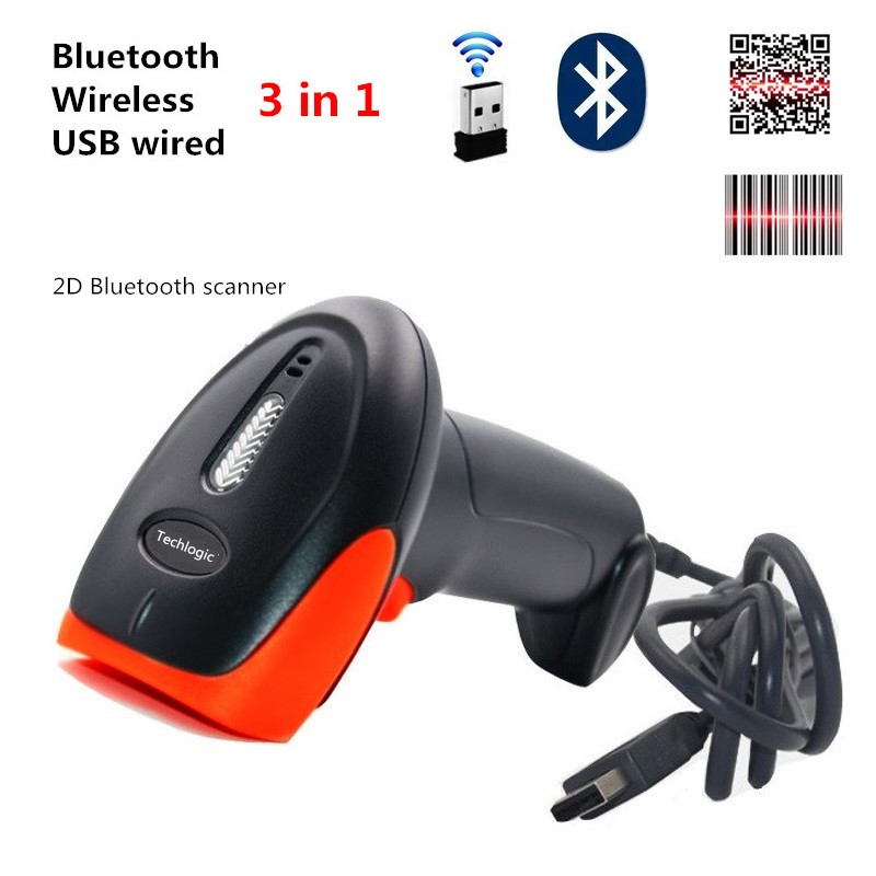 Scanner 2D Bluetooth Wireless USB Wired Barcode Scanner Bar Code Reader QR PDF417 Datametrix Code Scanner Supermarket Reader image