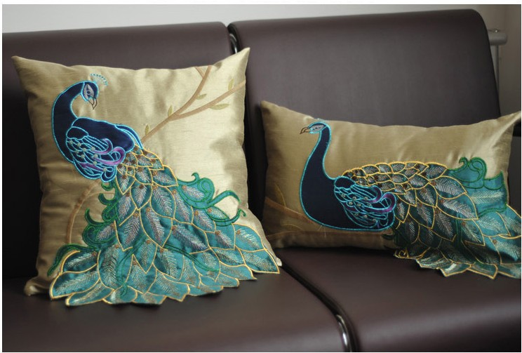 luxury Handmade sequins peacock cushion Faux Silk Decorative Embroidery cushions Home Decor Sofa