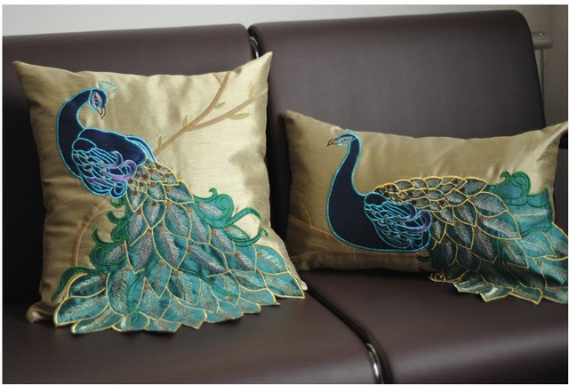 chair cushion cover baby shower rentals luxury handmade sequins peacock faux silk decorative embroidery cushions home decor sofa ...