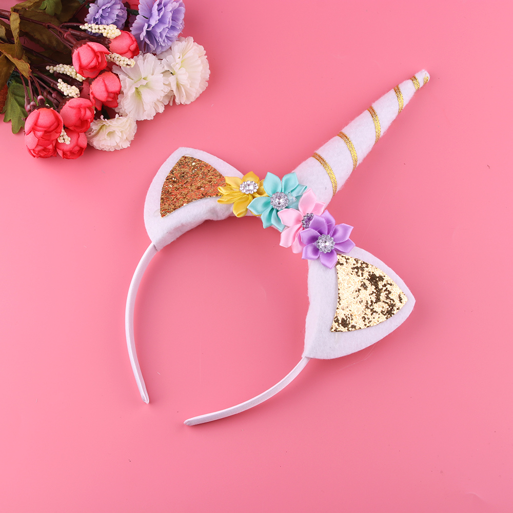 1PC Kid Party Birthday Horn Delicate Unicorn Elastic Hairband Headband Headwear Girls Hair Band Accessoires 12 models set gold 3d design christmas nail sticker bling bows nail art manicure stickers decals for women nails decoration