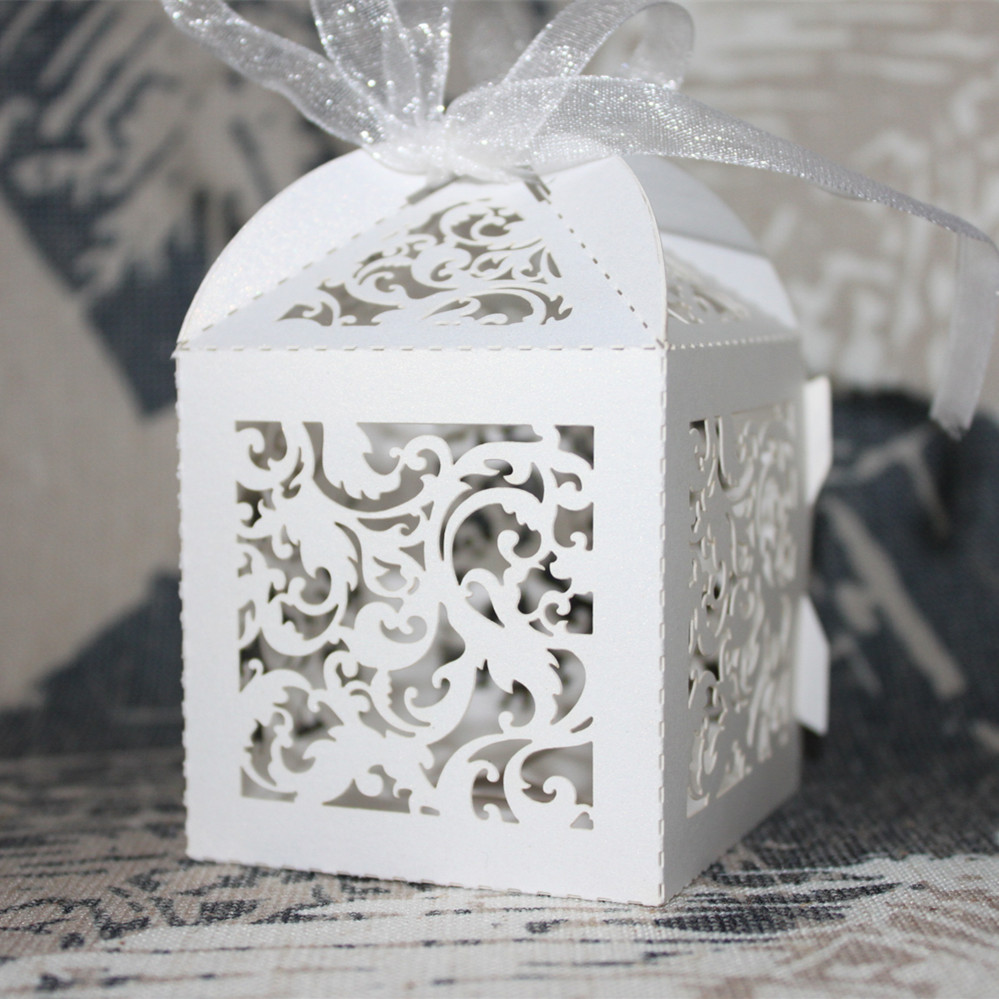 50pcs Laser Cut Wedding Favor Box Candy Box Gift Box Christmas ...