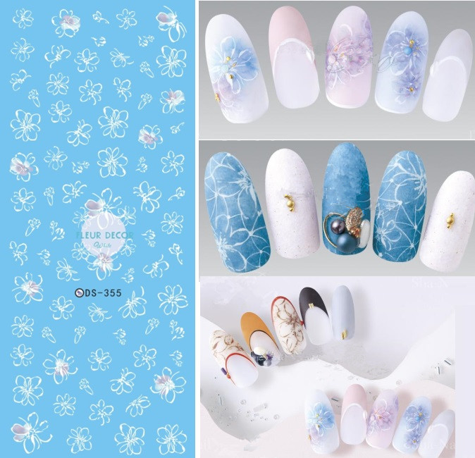 DS355 DIY Water Transfer Nails Art Sticker Magic Fantacy White Flowers Nail Wrap Sticker Tips Manicura stickers for Nails ar350 2nd transfer screw nsrw 0033fczz ar351 355 3512 3511 3501
