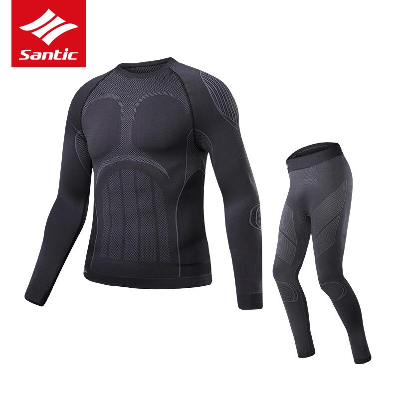 Santic Men Cycling Base Layer Sets Kits Winter Thermal Sports MTB Road Bike Clothing Running fitnessUnderwear suits