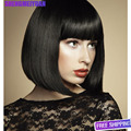 Elegant Fashion newest hot sale styleEurope America womengirl black neat bang puffy short straight wig with rose net cheap price