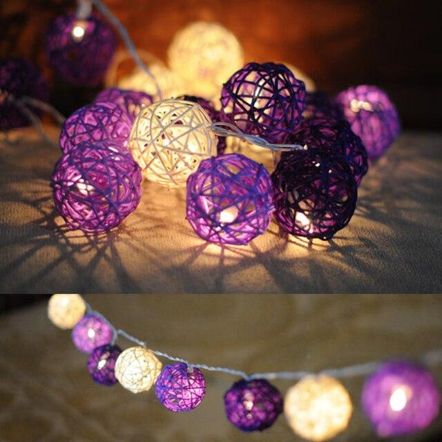 5cm Handmade Purple Rattan Lantern Ball String Light For Christmas Party Bedroom Home Decoration