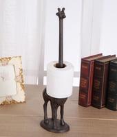 2 Cast Iron Toilet Paper Holder Long Neck Giraffe Brown Metal Paper Towel Holder Animal Kitchen Bathroom Living Freestanding