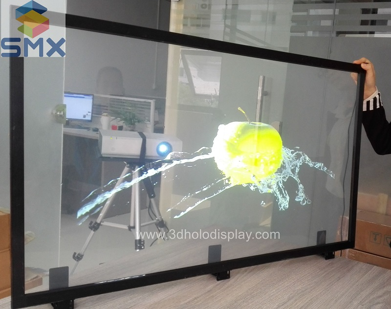 transparent holographic screen for window display rear projection