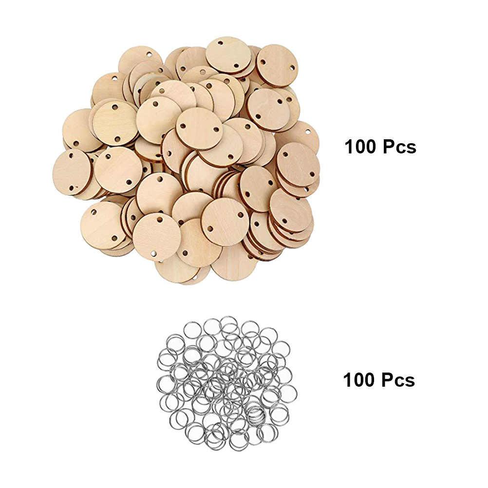 100 шт Круглые деревянные диски с отверстиями календарь бирка напоминание запись деревянный чип день рождения бирки из дерева и 100 шт железные кольца