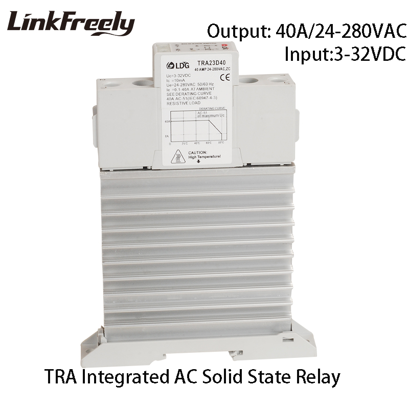 TRA-23D40M1 Intelligent Auto Integrated SSR 40A DC to AC Ouput 24-280VAC Single Phase DIN Rail Solid State Relay 5V12V 24V DC tra 23d40m1 5pcs intelligent automation integrated ssr relay 3v 5v 12v 24v dc input din rail solid state relay heat sink 40a