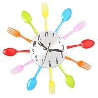 Nowoczesna Kuchnia Zegar Ścienny Metalowa Kolorowe Nóż Widelec Łyżka Kuchnia Zegary Kreatywnych Nowoczesny Wystrój Domu Stylu Antycznym Ścianie Zegarek