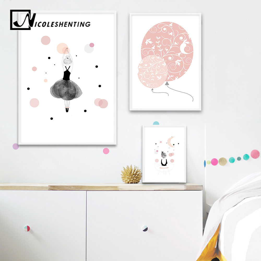 Nursery Prints Girl Lovely Girl Balloon Wall Art Canvas Poster Cartoon Nursery Prints Painting Nordic Kids Decoration Picture Baby Bedroom Decor In Painting Calligraphy