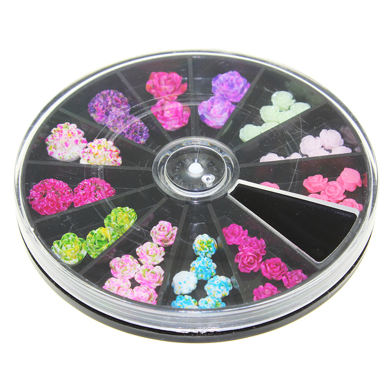 Latest Japanese Wheel Nail Art Newest 3D Korea Trending Style Resin Roses Acrylic Artificial Flowers In Rhinestones Decorations From Beauty Health On