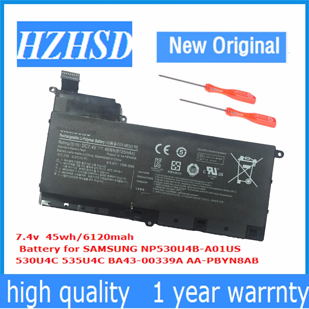 7.4V 45WH New Original AA-PBYN8AB Laptop Battery For SAMSUNG NP530U4B-A01US 530U4C 535U4C BA43-00339A 7.4V 45WH New Original AA-PBYN8AB Laptop Battery For SAMSUNG NP530U4B-A01US 530U4C 535U4C BA43-00339A