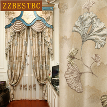 Top luxury 4D embossed royal villa blackout living room curtains high quality elegant beige thick curtain for bedroom hotel