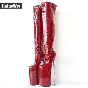 Image 3 - Jialuowei النساء مثير صنم الرقص ملهى ليلي الأحذية 30 سنتيمتر المتطرفة عالية الكعب المعادن الكعوب منصة سستة فوق الركبة الفخذ أحذية عالية