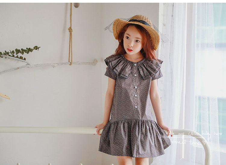 new fashion 2017 girl dress ruffles preppy style kids dresses for girls children school clothing dot short sleeve children dresses girls 2017 summer dresses kids clothes (24)