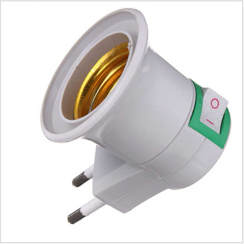 1Pcs Free Shipping E27 EU plug adapter with power on-off control switch E27 Socket Lamp Base Lamp Socket