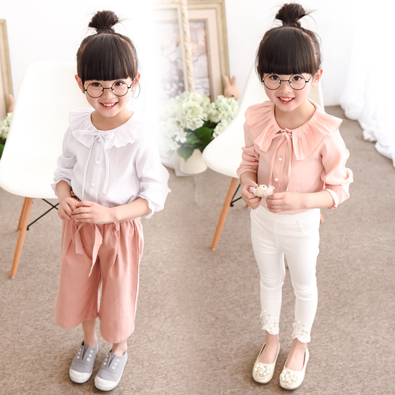 Korean Girls New Spring Long Sleeved Shirt Collar Lotus Leaf Kids Clothing White Pink