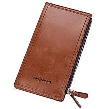 Double Zipper Letter Embellishment Solid Color Vertical Wallet for Men Women Purse Money Bag Coins Holder
