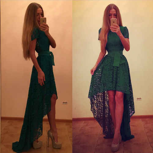 66363a3b12 Summer Fashion Formal Green Lace Dress Women Swing Prom Evening Party  Wedding Ball Gown Lace High Waist Formal Dress