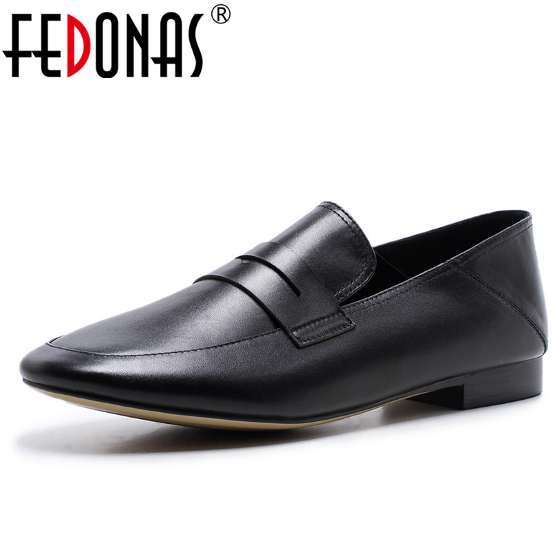 FEDONAS New Comfortable Genuine Leather Women Flats Moccasins Loafers Ladies Shoes Wild Driving Women Casual Shoes Leisure Shoes black women flats light weight new design women casual shoes wearable comfortable ladies working shoes aa10129
