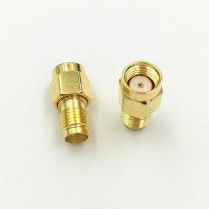 Image 3 - 1000 Stücke Messing Vergoldet Sma buchse auf RP SMA Stecker Gerade RF Koaxial Koax adapter verbindungs