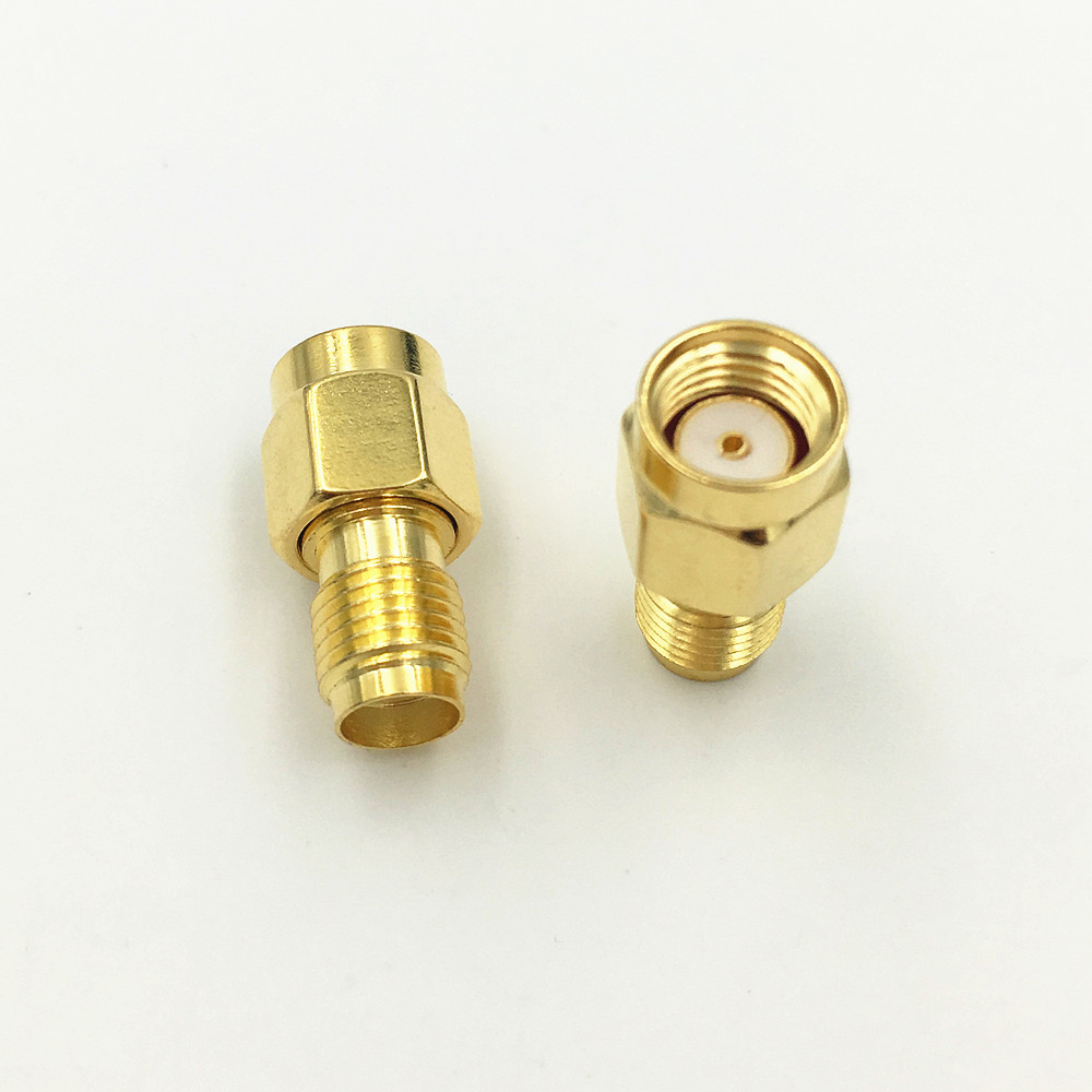 Image 3 - 1000Pcs Brass Gold Plated SMA Female Jack to RP SMA Male Plug Straight RF Coaxial Coax Adapter ConnectorConnectors   -