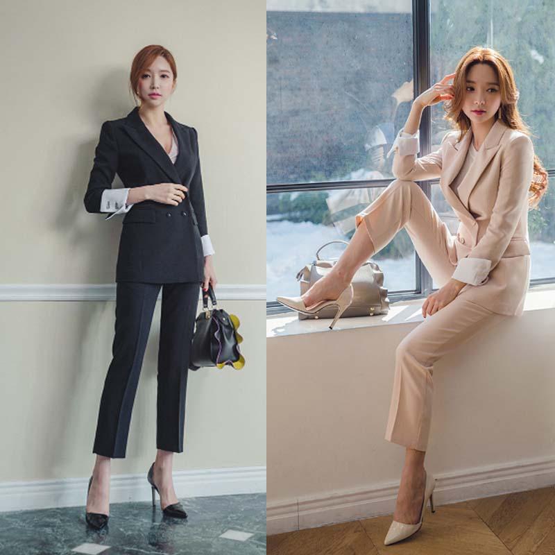2018 Herbst Frauen Bleistift Hose Anzüge 2 Zwei Stück Sets Schwarz Blazer + Bleistift Hose Büro Dame Kerb Jacke Weibliche Outfits Rabatte Verkauf
