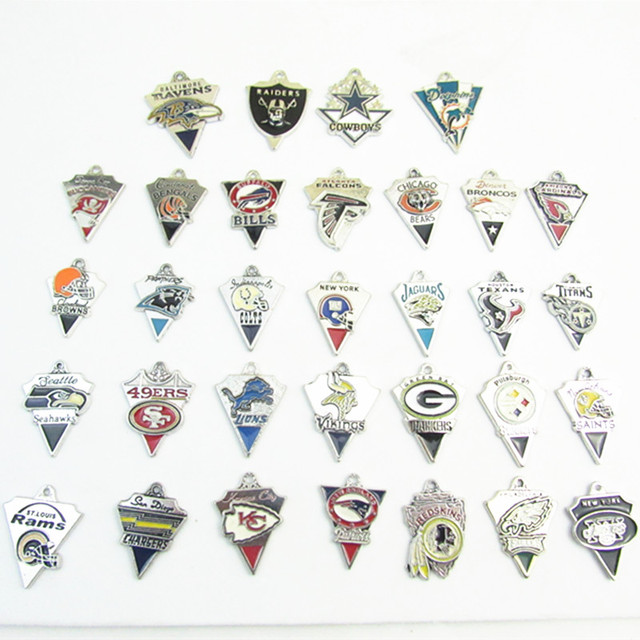 bad9fcdc High Quality Mix American Football Teams logo Dangle Charms Pendant For  Bracelet Or Necklace Jewelry 32pcs
