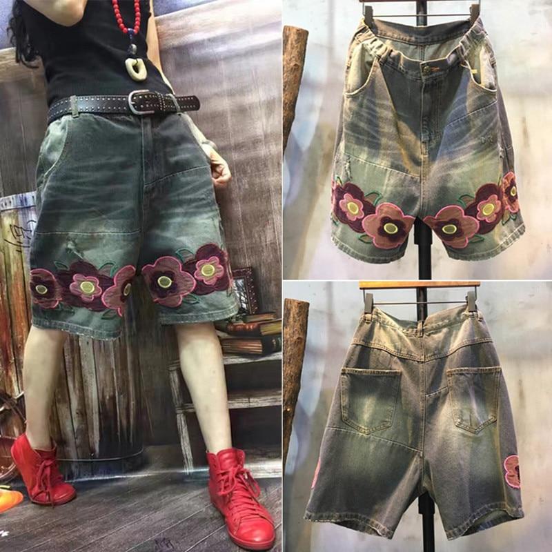 Darmowa wysyłka 2019 nowych moda krótkie spodnie dla kobiet Denim w pasie na co dzień lato 1/2 hafty kwiat spodnie do kolan w Dżinsy od Odzież damska na  Grupa 1